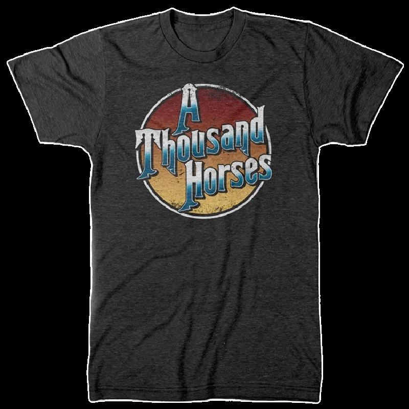 A Thousand Horses Dark Heather Grey Logo Tee