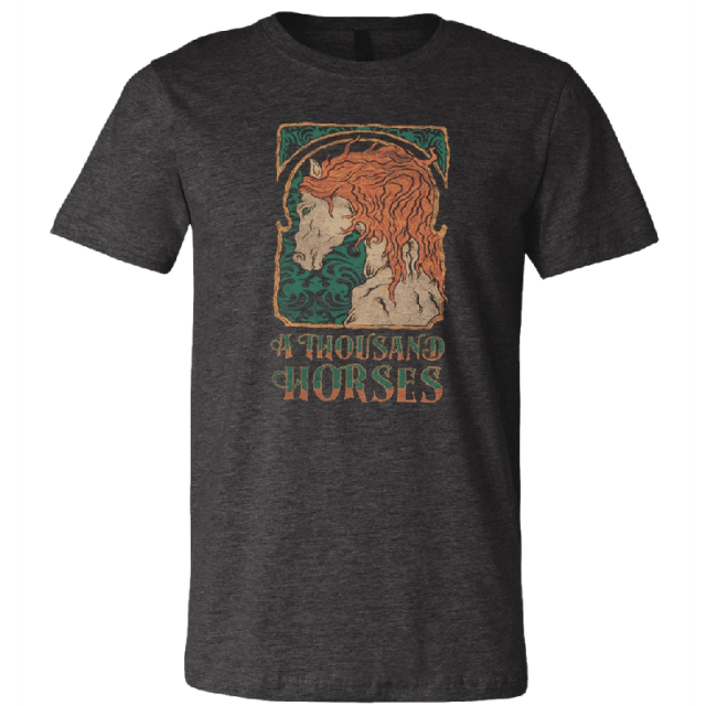 A Thousand Horses Dark Heather Grey Painted Horse Tee