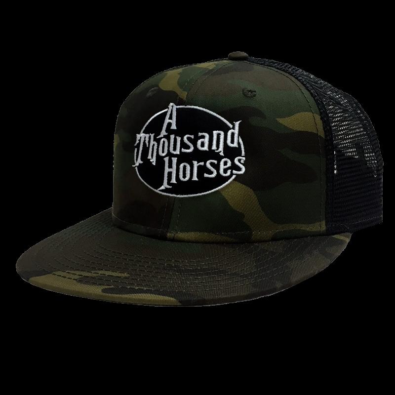 A Thousand Horses Camo and Black Snapback
