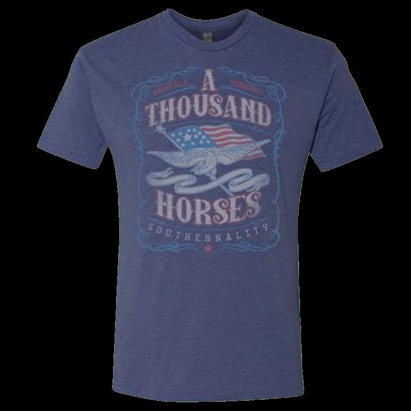 A Thousand Horses Heather Navy Eagle Tee